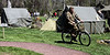 Bob Raines--Montgomery Media<br /> A Miltary Police sergeant pedals through the rest and recreation area on a GI bicycle during the World War II Weekend at Graeme Park, Saturday, May 2, 2015.