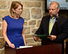 Bob Raines--Montgomery Media<br /> Frederick Conner, chairman of the Whitpain Board of Supervisors, presents a resolutions to Joanne Messerschmidt, president of the Blue Bell Rotary Club, recognizing their 25 years in the community May 5, 2015.