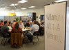 Bob Raines--Montgomery Media<br /> VITA volunteers share an Informal meal at the North Penn United Way office May 4, 2015.
