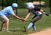 Bob Raines-- Montgomery Media<br /> North Penn coach Rich Torresani welcomes Jacki Billotti with a low-five as she rounds third base on her way to the plate after she pounded an over-the-fence home run with two runners on base during the home game against Souderton May 11, 2015.