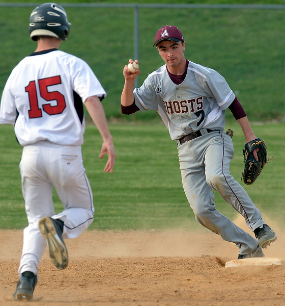 Bob Raines--Montgomery Media<br /> Abington shortstop Aiden Coyle makes the final play of the game with a force out on Tennent runner Matt Johnson at second base April 15, 2015.