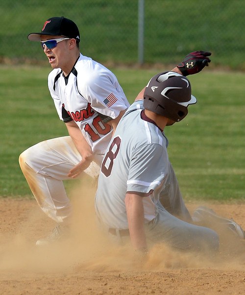 Bob Raines--Montgomery Media<br /> Abington runner Brendan Gallagher is safe at second base on an error by Tennent's Paul McElroy April 15, 2015.