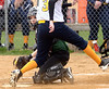 Bob Raines--Montgomery Media<br /> Christopher Dock catcher Emily Gordon doesn't get the ball in time to prevent Lower Moreland's Erin Przybylinski from stealing home during some confusion over a force at first base April 14, 2015.