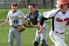 Bob Raines--Montgomery Media<br /> Abington catcher Nick Bein bobbles the ball that Tennent's AJ Shapiro shanked trying to check his swing. Bein's hurried throw to first base endd in an error with the runner safe April 15, 2015.