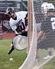 Bob Raines--Montgomery Media / Abington's Cameron Leech fires low, but wide, on Strath Haven goalkeeper Ethan Fink May 12, 2015.