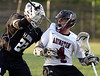 Bob Raines--Montgomery Media / Abington's Joe Lomady looks like he's getting a little more than equal pressure under his shoulder pad from Strath Haven defenseman Nick Pappas May 12, 2015.