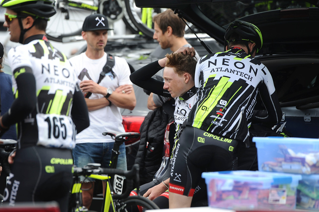 . Riders prepare before the start of Stage 7 in Ontario, Ca. (Staff Photo by Sarah Alvarado/ Inland Valley Daily Bulletin)