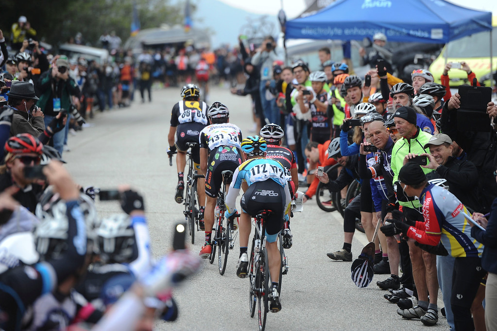 . The lead pack of riders makes it up the first KOM at Mt. Baldy Road and Glendora Ridge Rd during Stage 7 of the Amgen Tour of California on Saturday, May 16, 2015. (Staff Photo by Sarah Alvarado/ Inland Valley Daily Bulletin)