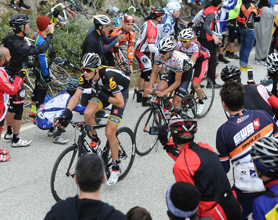 . The lead pack of riders makes it up the first KOM at Mt. Baldy Road and Glendora Ridge Rd during Stage 7 of the Amgen Tour of California on Saturday, May 16, 2015. (Staff Photo by Sarah Alvarado/ Inland Valley Daily Bulletin)Riders