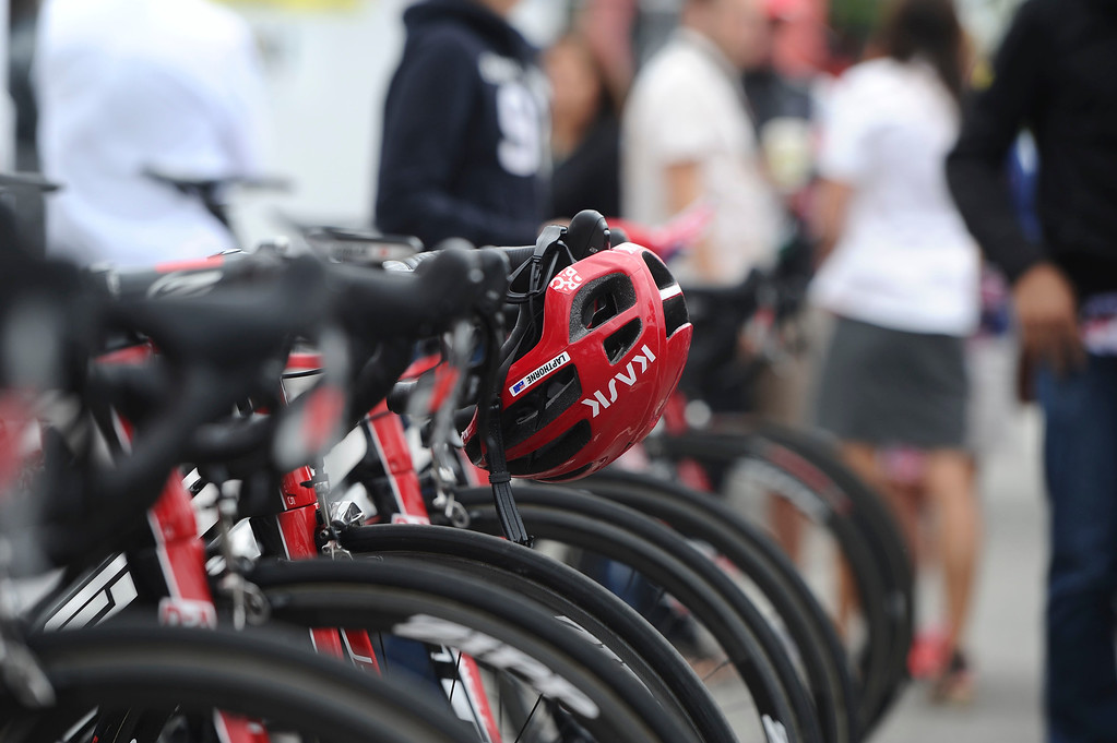 . A helmet hangs on a bike at the opening festival of Stage 7 of the Amgen Tour of California in Ontario, Ca. on Saturday, May 16, 2015. (Staff Photo by Sarah Alvarado/ Inland Valley Daily Bulletin)