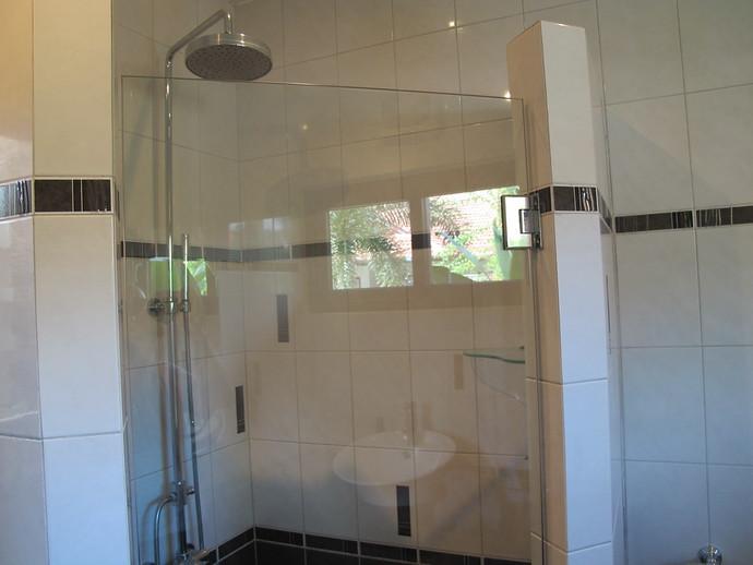 Lower level shared bathroom rain shower