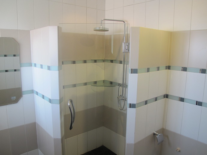 The ensuite bathroom from bedroom two on the middle level
