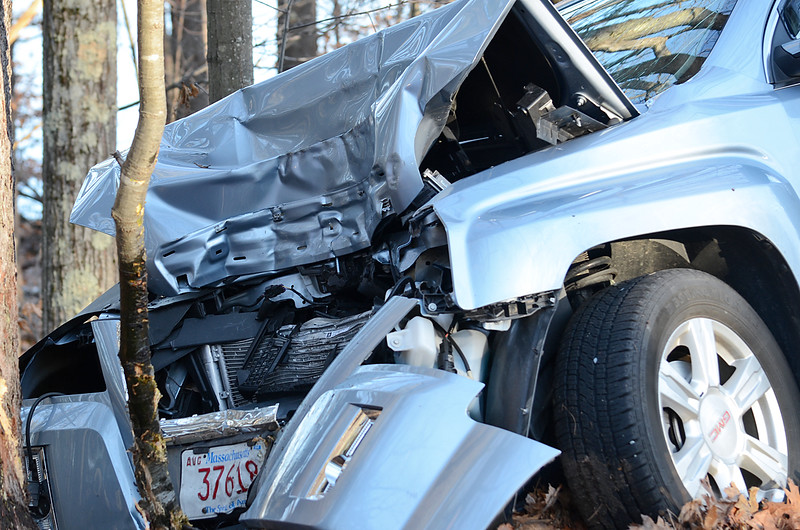 Townsend, Ashby and Fitchburg EMS crews were on scene of a one car MVA on Rindge Road in Ashby on Friday shortly after 1 pm. Both the driver and the passenger were transported to HealthAlliance Hospital in Leominster with unknown injuries. SENTINEL & ENTERPRISE / Ashley Green