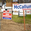 On Monday, the town of Ashby held its annual election; running for selectman were Michael McCallum for relection, and John Hourihan. Many signs were seen outside Town Hall and Ashby Elementary School on Monday afternoon. SENTINEL & ENTERPRISE/ ASHLEY LUCENTE
