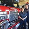 Leominster Fire Lieutenant Audra Brown and son Matt Brown, a part-time Lunenburg firefighter. SENTINEL & ENTERPRISE / Ashley Green