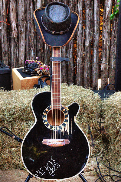 Rusty Wier's guitar and hat