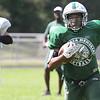 Billerica vs Stoneham high school football scrimmage. Billerica's Cliff Louis (24). [No rosters] (SUN/Julia Malakie)