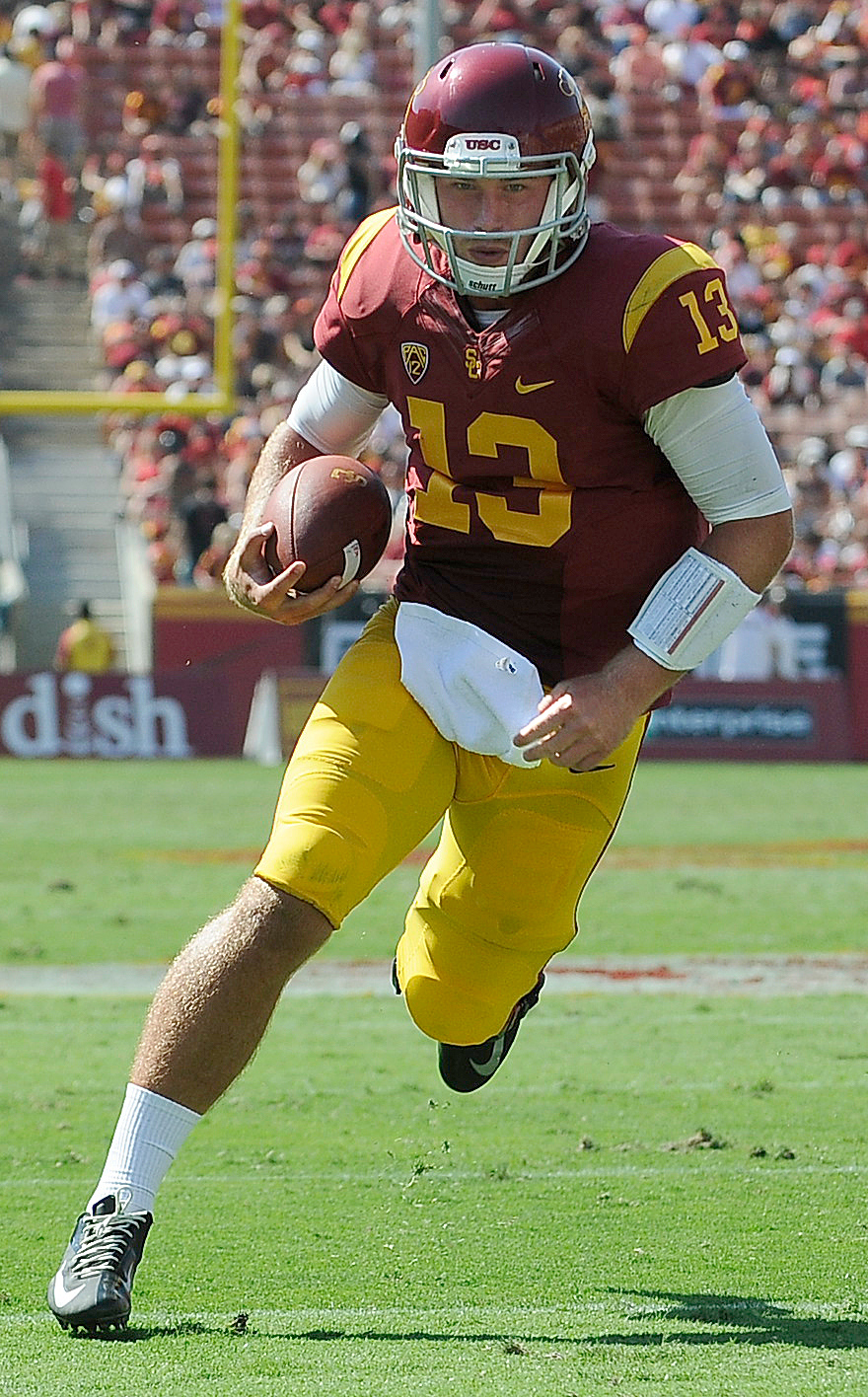 . USC QB Max Wittek replaced Cody Kessler in the 4th quarter, and ended up scoring a TD in the 4th quarter. USC defeated Boston College 35-7 in a game played at the Coliseum in Los Angeles, CA. 9/14/2013. photo by (John McCoy/Los Angeles Daily News)