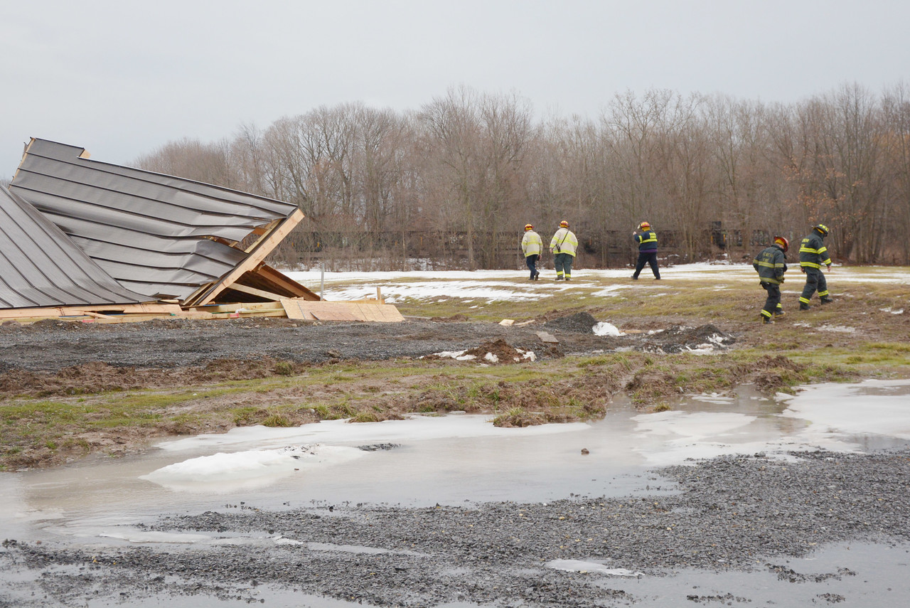 Firefighters from Northside, Geneva and Boarder City responded to a building collapse on Route 14 in Geneva, NY.