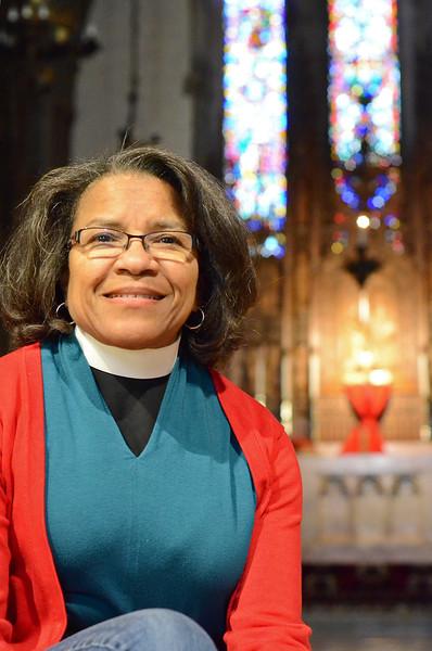 Rev. Carolyne G. Jones at Christ Church in Fitchburg. Jones and her husband, Rev. Bennett G. Jones II. will deliver the Easter service on Sunday morning. SENTINEL & ENTERPRISE / Ashley Green