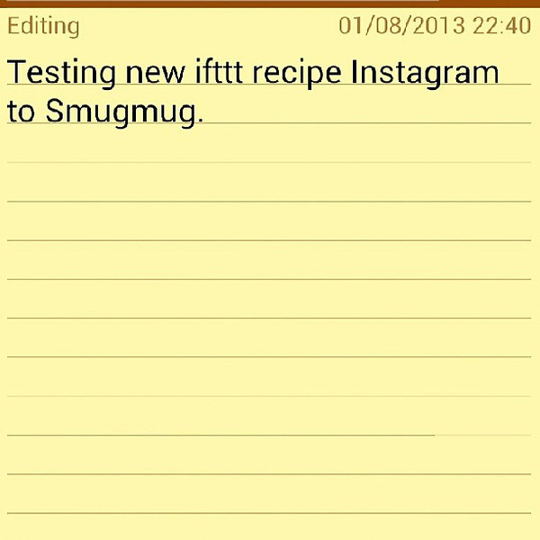 "Testing. via Instagram <a href=""http://instagram.com/p/cfGy_4NMQ9/"">http://instagram.com/p/cfGy_4NMQ9/</a>"