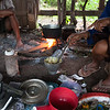 Laos, in side family home where breakfast is being prepared