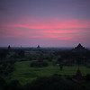 Myanmar, predawn view of Buddhist temples