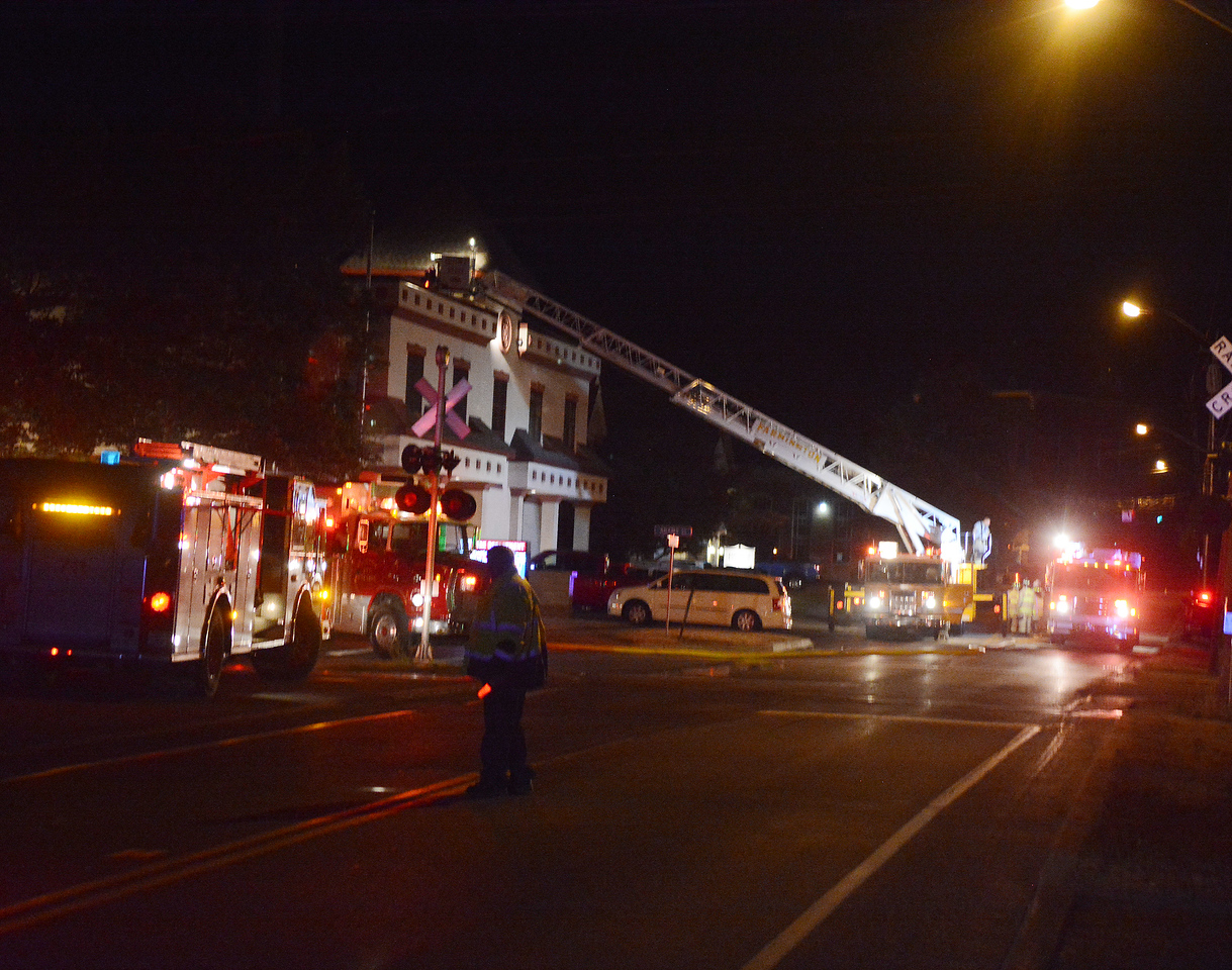 Jack Haley/Messenger Post Media<br /> Maple Street and Adams Street were shut down early this morning as a call for a structure fire at the Victor Fire Hall. The building was not damaged but a fire turck was.