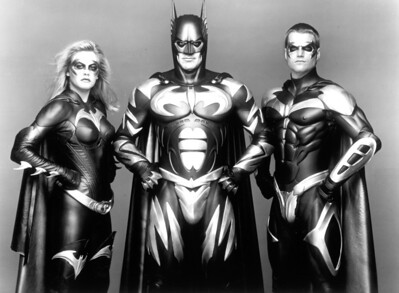 1997: Alicia Silverstone as Batgirl, George Clooney as Batman and Chris O'Donnell as Robin.   L.A. Daily News file photo