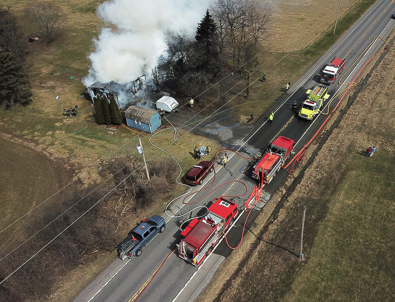 [Jack Haley/Messenger Post Media]<br /> The structure fire on Route 488 had too much of a head start for firefighters arriving on scene.