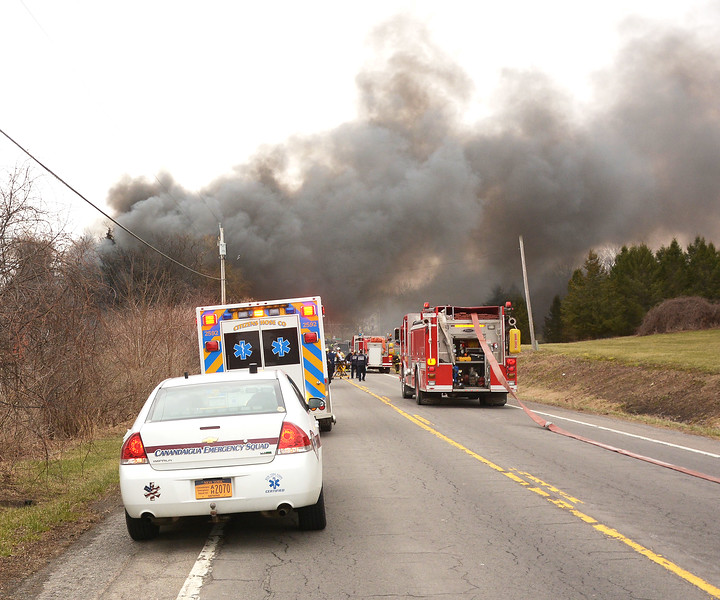 [Jack Haley/Messenger Post Media]<br /> Thick black smoke could be seen for miles on Route 488 in Hopewell.