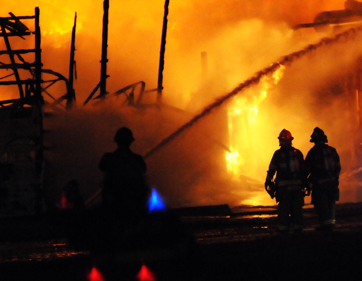 Firefighters from two dozen departments and four counties responded  to assist in a commercial building structure fire at Commodity Resource Corp. on 2773 Caledonia-Le Roy Road in Caledonia