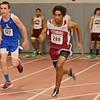Fitchburg's Kobe Saddler runs the 55m during the track meet at Fitchburg High on Thursday evening. SENTINEL & ENTERPRISE / Ashley Green
