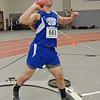 Lunenburg's Max Corbett throws the shotput during the track meet at Fitchburg High on Thursday evening. SENTINEL & ENTERPRISE / Ashley Green