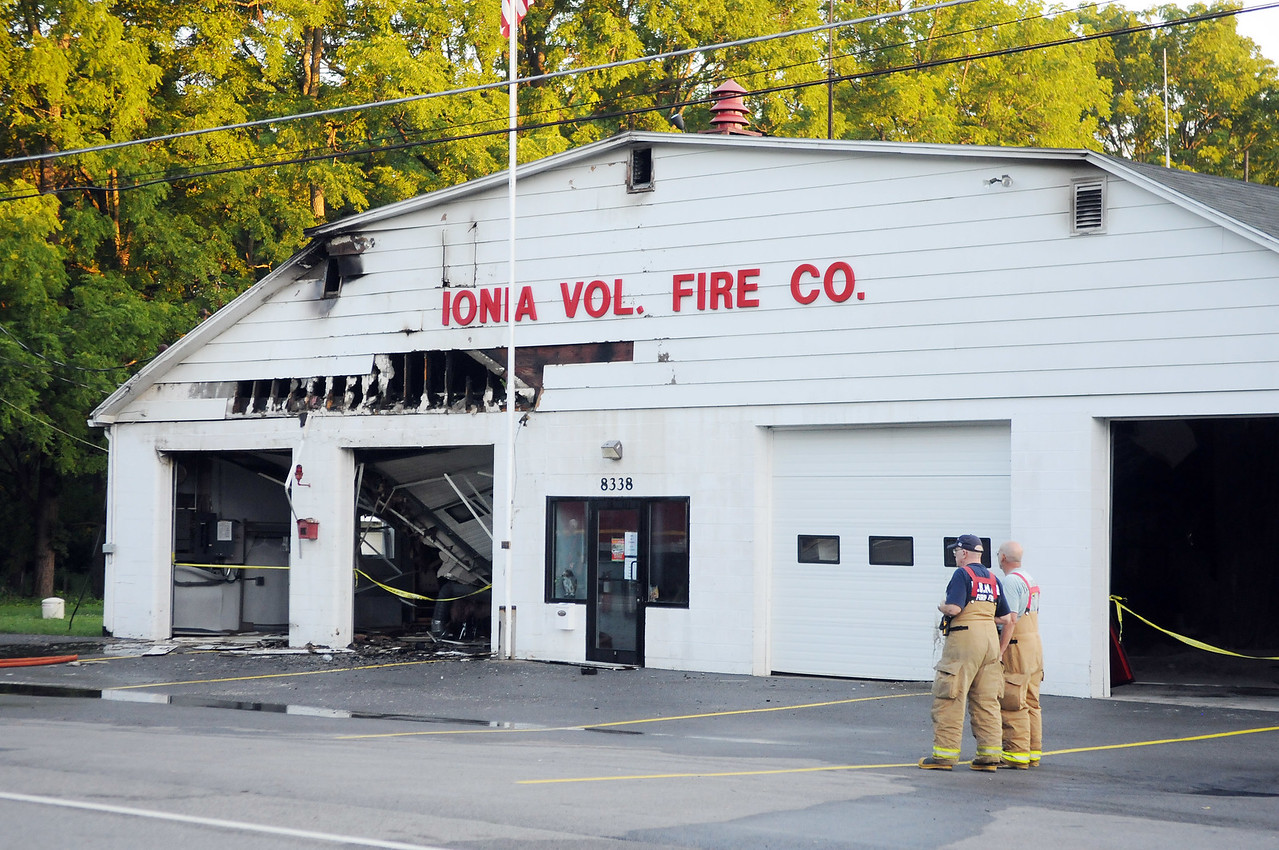 Jack Haley/Messenger Post Media<br /> Fire crews were called to the scene around 3 a.m. on County Road 14 in Ionia tor a working structure fire at the Ionia Fire Department. Heavy damage was sustained on the building.