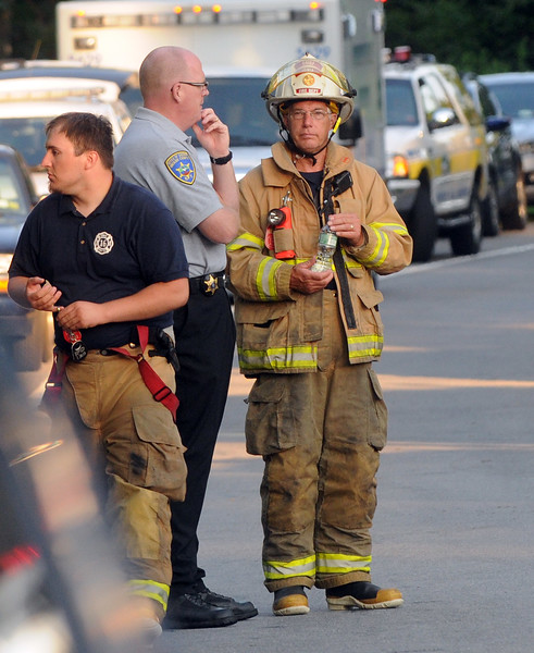 Firefighters clean up from this mornings blaze at the Ionia Fire Department.