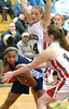 Springfield's Jewell Ringgold protects a rebound from Jenkintown's Amelia Mulvaney and Morrin McSherry Tuesday, Dec. 30, 2014.<br /> Bob Raines-Digital First Media