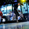 Journey Lead singer Arnel Pineda spins around on the stage as Journey performs at  the Minnesota State Fair to thousands of fans on September 1, 2014. Bassist  Ross Valory is back left. (Pioneer Press: Sherri LaRose-Chiglo)