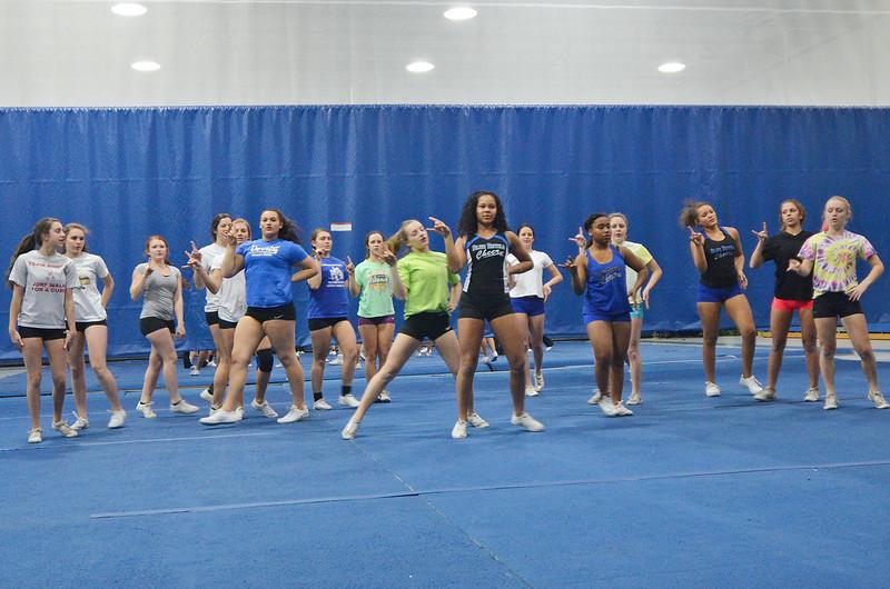 Leominster High cheerleaders practice in the LHS gym last week. SENTINEL & ENTERPRISE / Ashley Green