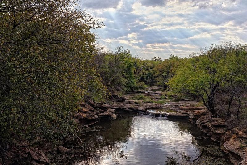 Creek that flows into Joe Pool Lake in Grand Prairie, TX