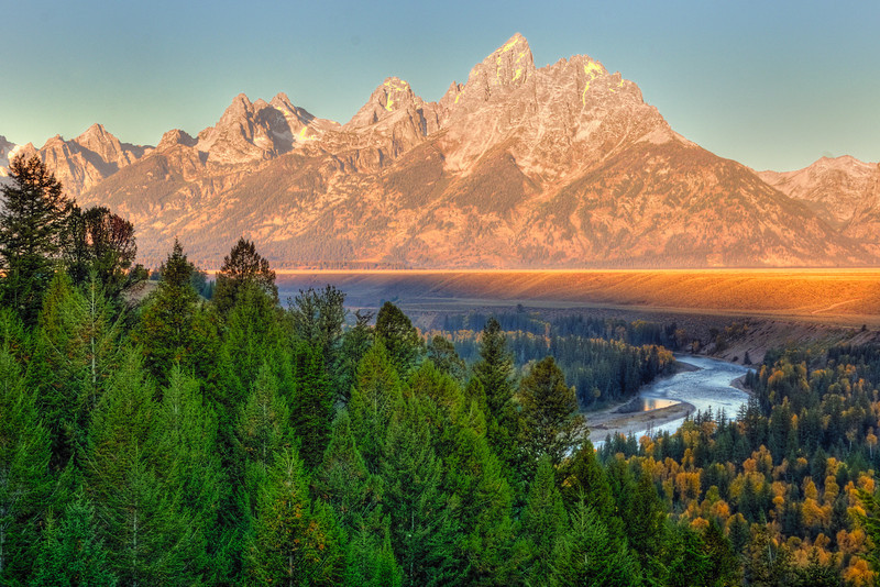 Grand Tetons at sunrise, from Snake River Overlook