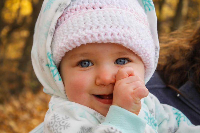 Bright eyed Julia, 8 months, is the daughter of Jocelin Damien, the treasurer of the MOMS Club of Leominster. SENTINEL & ENTERPRISE / KYLE DAUDELIN