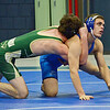 Nashoba's Jake Kallio and Leominster's Jorge Morales face off during a meet at LHS on Wednesday evening. SENTINEL & ENTERPRISE / Ashley Green
