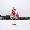 """""""Rocky"""" sits on the ice at Rockwell Pond in Leominster for the Ice Out fundraiser for the Veteran's Center. SENTINEL & ENTERPRISE/ Ashley Lucente"""