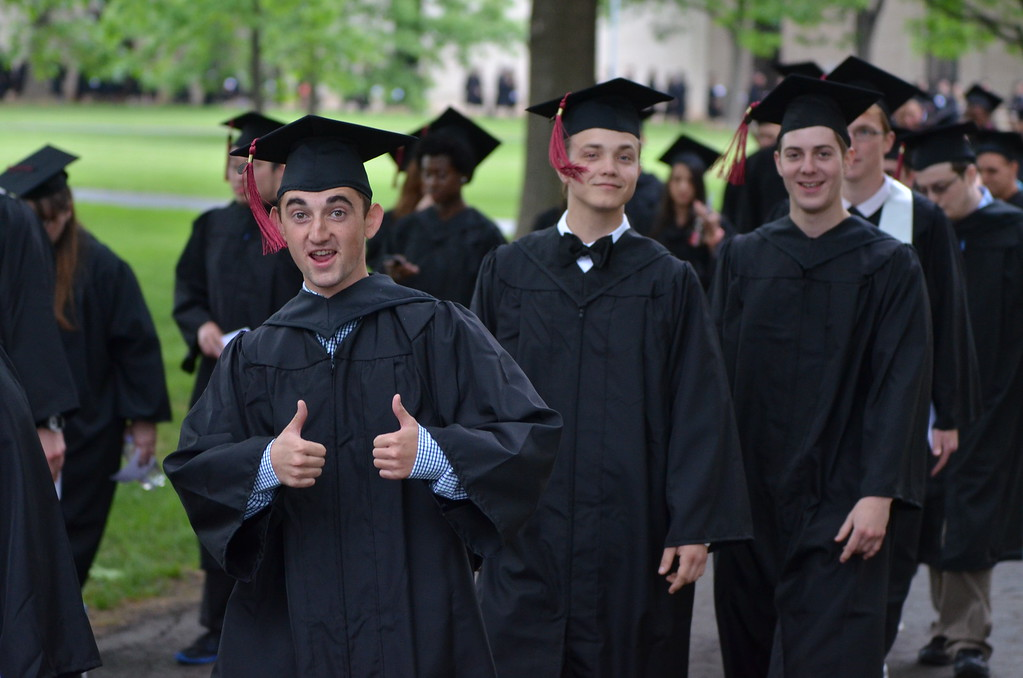 . Members of the Montgomery County Community College Class of 2015 show their joy during their commencement on Thursday evening, May 21, 2015. (Mark C Psoras � The Reporter)