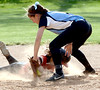 Bob Raines--Montgomery Media<br /> Hatboro Horsham's jumps back to second base to beat the throw to North Penn's Kate Beer May 13, 2015.