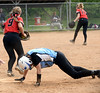 Bob Rainesw--Montgomery Media<br /> North Penn's Kate Beer gets caught off first base on a caught line drive. Hatboro Horsham's Karli Simmons made the force.