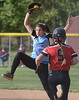 Bob Raines--Montgomery Media<br /> North Penn first baseman Anna Gill has to go high for the throw but gets the force on Hatboro Horsham's Karli Simmons May 13, 2015.