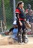 Bob Raines--Montgomery Media<br /> North Penn's Courtney Neal scores unopposed behind Hatboro Horsham catcher Bryn Shaffer May 13, 2015.