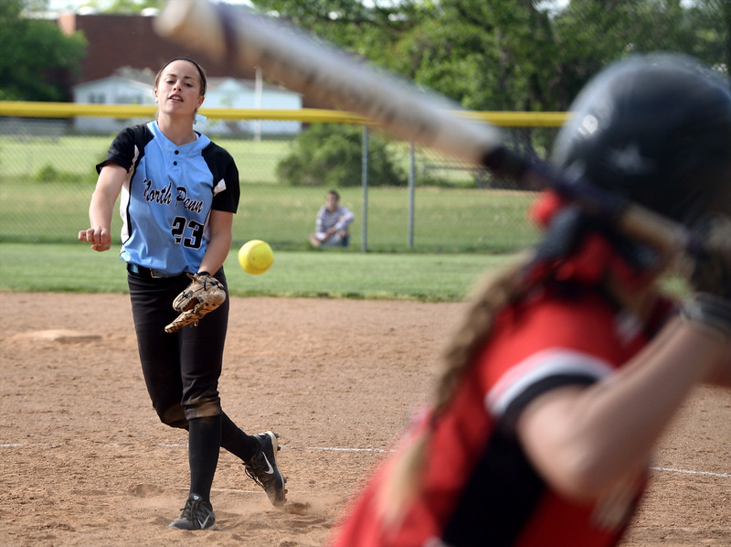 Bob Raines--Montgomery Media<br /> Jackie Bilotti pitches for North Penn at Hatboro Horsham May 13, 2015.